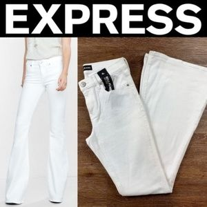 NEW EXPRESS WHITE MID RISE BELL FLARE JEANS
